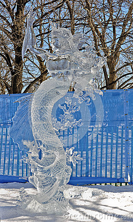 Mermaid Ice Sculpture, Ottawa, Canada Editorial Stock Photo