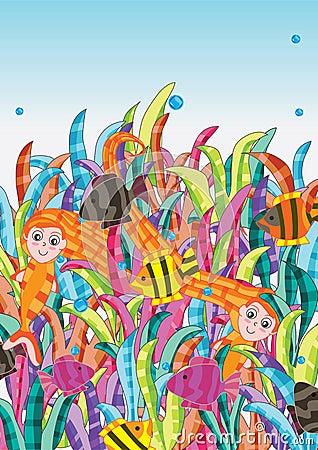 Free Mermaid In Deep Sea_eps Stock Photo - 25121550