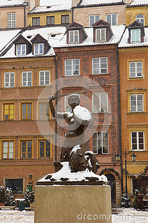 Mermaid in old downtown of Warsaw, Poland