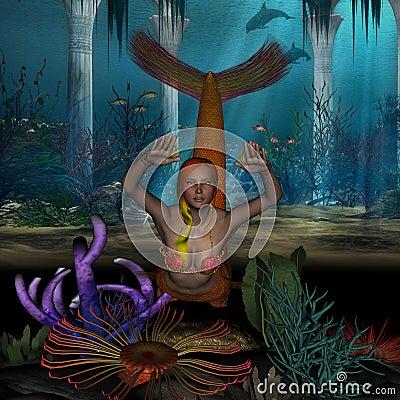 Mermaid in orange swimming underneath the ocean