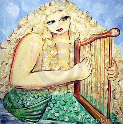 Mermaid plays harp