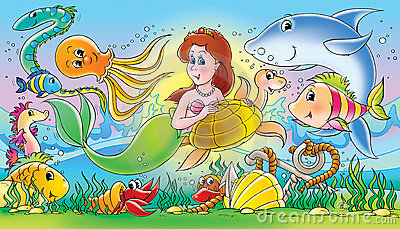 Mermaid and sea animals