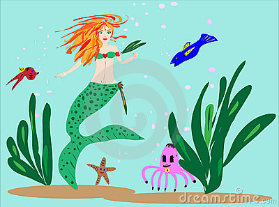 Mermaid and Sea Friends Illustration