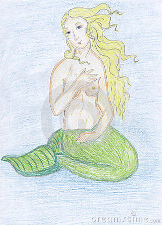 Mermaid sketch, colored