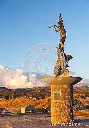 Mermaid statue entrance Ventura harbor Editorial Image