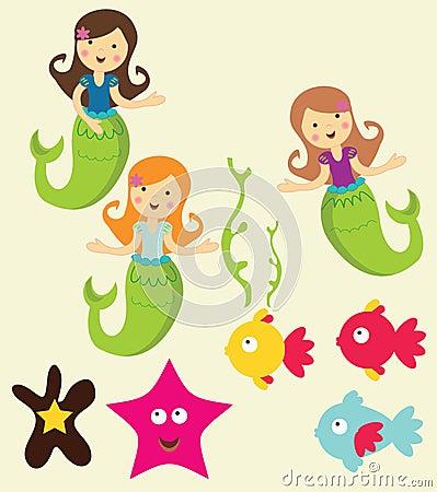 Mermaid under the sea graphics