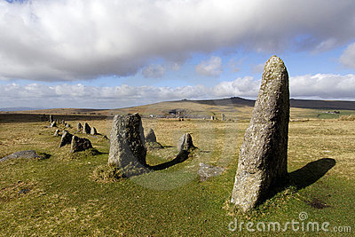 Merrivale stone row on dartmoor