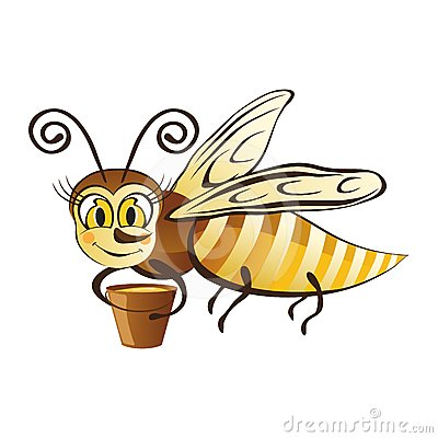 Merry Bee with a bucket of honey