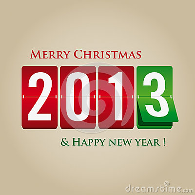 Free Merry Christmas And Happy New Year 2013 Mechanical Royalty Free Stock Photography - 27674997
