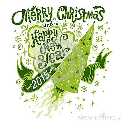 Free Merry Christmas And Happy New Year 2015 Greeting Card With Handlettering Typography Royalty Free Stock Images - 44900339