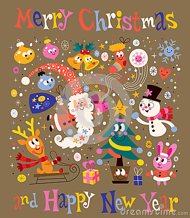 Free Merry Christmas And Happy New Year Greeting Card Stock Images - 36080044