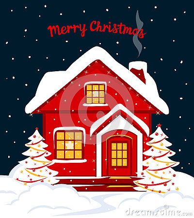 Free Merry Christmas And Happy New Year Seasonal Winter Card Template With Red Xmas House In Snow Royalty Free Stock Photography - 81323457