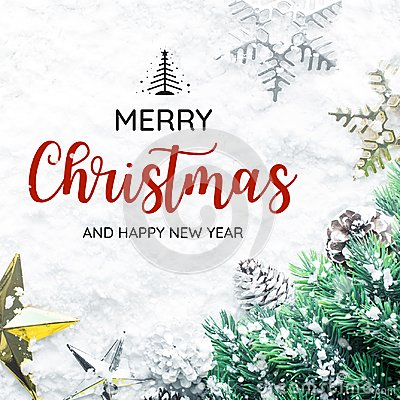 Free MERRY CHRISTMAS AND HAPPY NEW YEAR  Typography,text With Christmas Ornament Royalty Free Stock Photo - 102866395