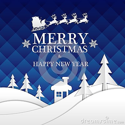 Free Merry Christmas And Happy New Year White Paper Cut On Blue Night Design For Holiday Festival Celebration Night Party Vector. Stock Photos - 103868763