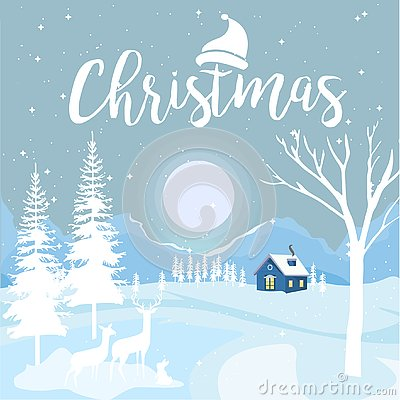 Free Merry Christmas And Happy New Year With Cottage And Snowflakes On Blue Background, Christmas Advertising Concept. Design Vector Wi Stock Images - 129538044