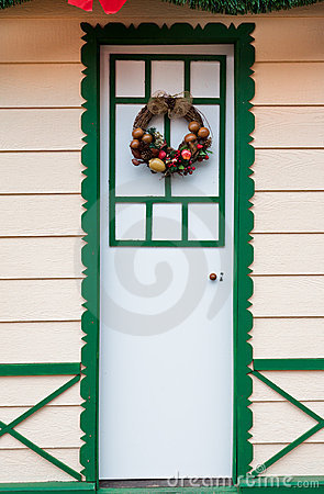Merry Christmas Arrangement on a Wood Door