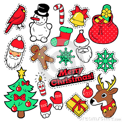 Free Merry Christmas Badges, Patches, Stickers - Santa Claus, Snowman, Snowflake, Christmas Tree In Pop Art Comic Style Stock Images - 78886104