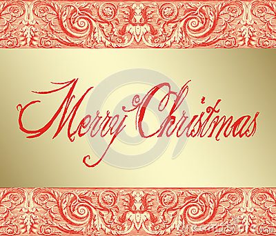 Merry Christmas on Baroque Background