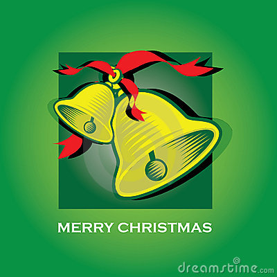 Merry Christmas Bells Green Greeting Card