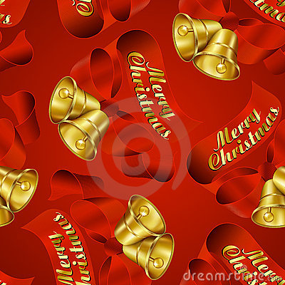 Merry Christmas Bells seamless wrapping paper