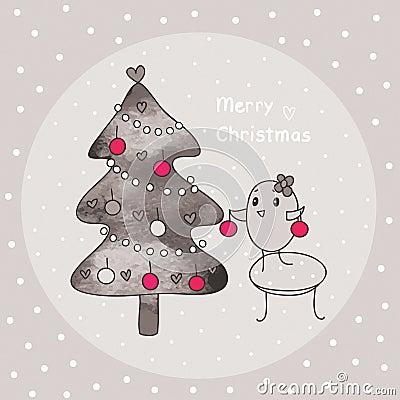Merry christmas and bird