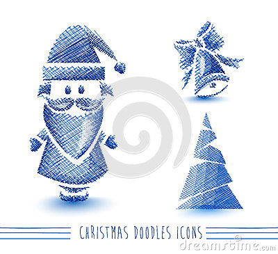 Merry Christmas blue sketch style elements set EPS