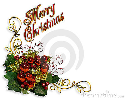Merry Christmas border baubles greeting card
