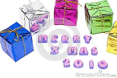 Merry christmas boxes on white