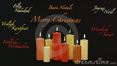 Merry Christmas with burning candles