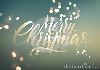 Merry Christmas. Calligraphic retro Christmas greeting card design on blurry background. Vector illustration. Eps 10. Vector Illustration