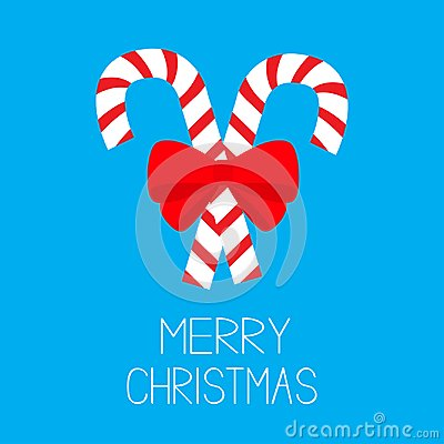 Merry Christmas. Candy Cane two peppermint stick set. Big red bow decoration. Greeting card. Flat design. Isolated. Blue backgroun Vector Illustration