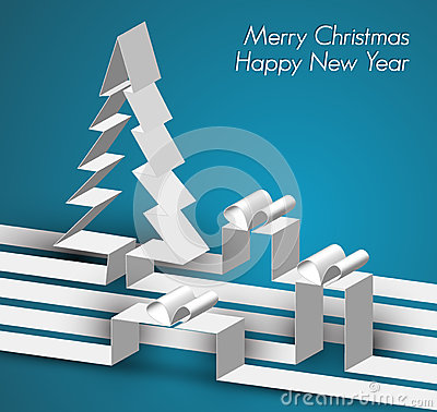 Free Merry Christmas Card Made From Paper Stripes Stock Photo - 26437090