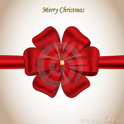Merry Christmas card with a red bow