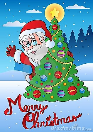 Merry Christmas card with Santa 1