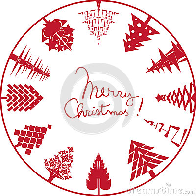 Merry christmas card stamp