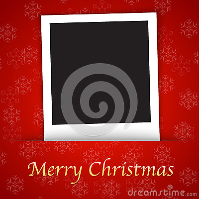 Merry Christmas card template with blank photo fra