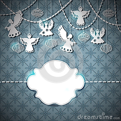 Free Merry Christmas Card With Angels And Toys Stock Image - 27250981