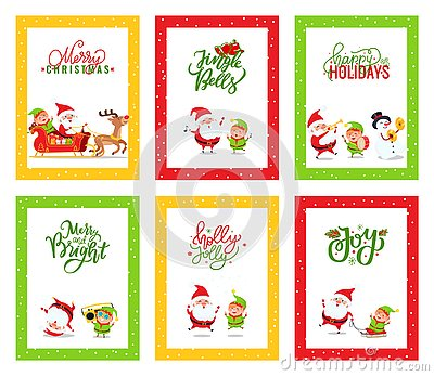 Merry Christmas Greeting Cards with Santa Claus Vector Illustration
