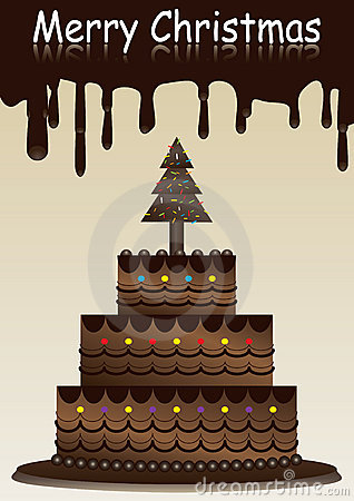 Merry Christmas With Chocolate Cake_eps