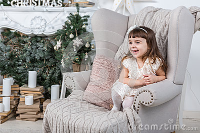 Merry Christmas! Cute happy little girl Stock Photo