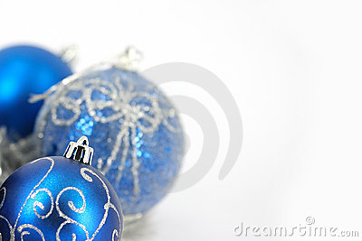 Merry Christmas decoration and blue ball