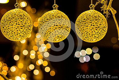 Merry Christmas decoration colorful objects balls dolls tree lighting Stock Photo