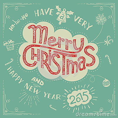 Free Merry Christmas Doodle Greeting Card Stock Image - 46597101