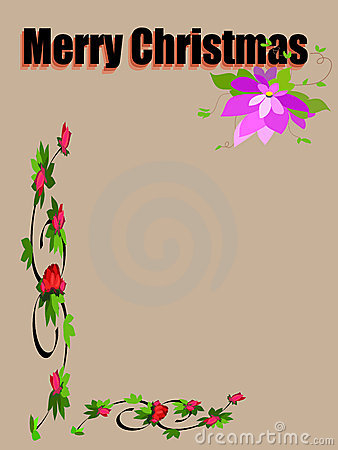 Merry christmas-flower frame