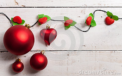 Merry Christmas Frame with real wood green pine, colorful bauble Stock Photo