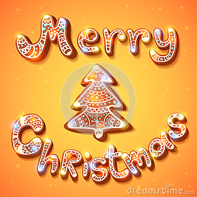 Merry Christmas gingerbread text and tree postcard