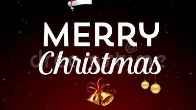 Merry Christmas. With gold ornaments, ringing bells and Santa hat vector illustration