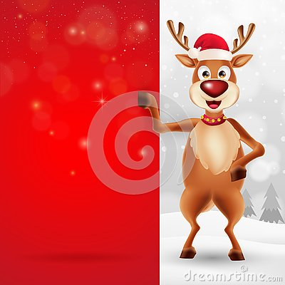 Merry Christmas greeting card with cartoon reindeer Vector Illustration