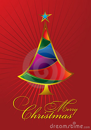 Merry Christmas Greeting Card with colorful tree