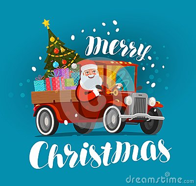 Free Merry Christmas, Greeting Card. Happy Santa Claus Rides In Retro Car Loaded With Gifts. Xmas Vector Illustration Royalty Free Stock Image - 103029056